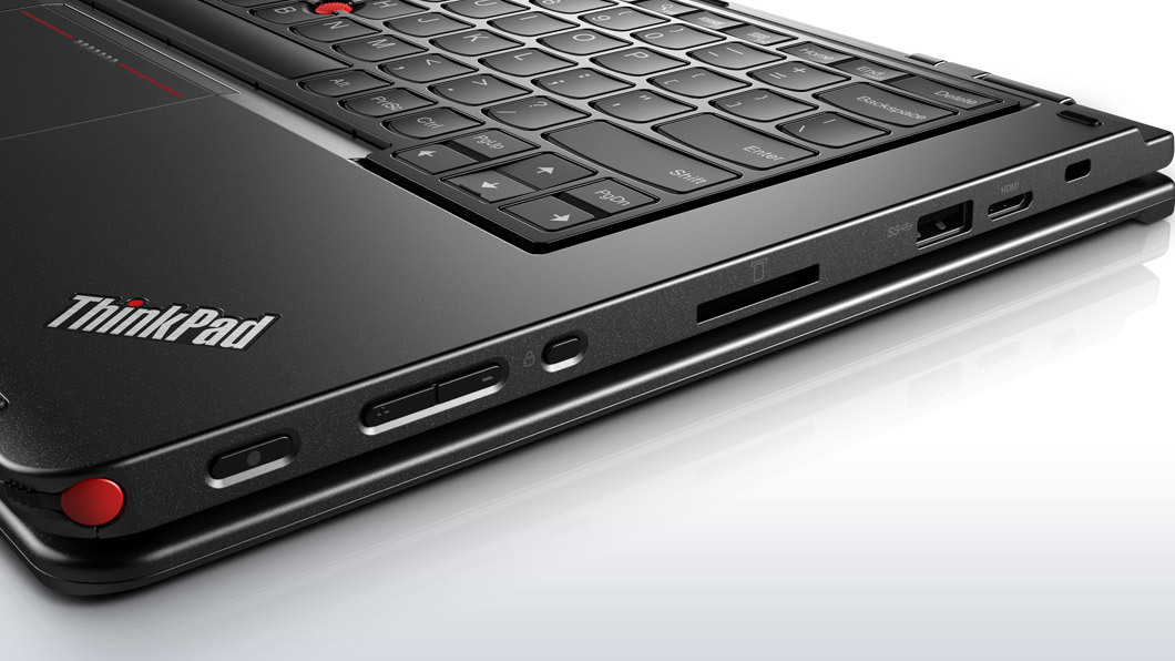 The Thinkpad stylus is siloed in the front right corner of the device.