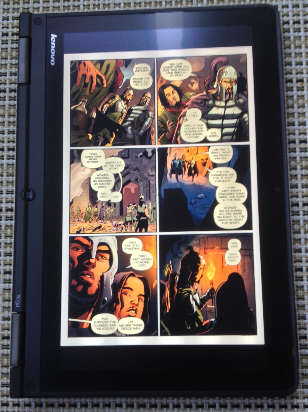Although the active display is just shy of 11-inches tall in portrait mode, it's only 6.1 inches wide. A standard American comic like this page from Dynamite's Red Sonja #1 has to be reduced to fit horizontally, leaving two .8 inch black bars at the top and bottom of the screen. I'm still pining for the perfect 8.5 x 11 display where my comics and magazines wouldn't have to be reduced at all.
