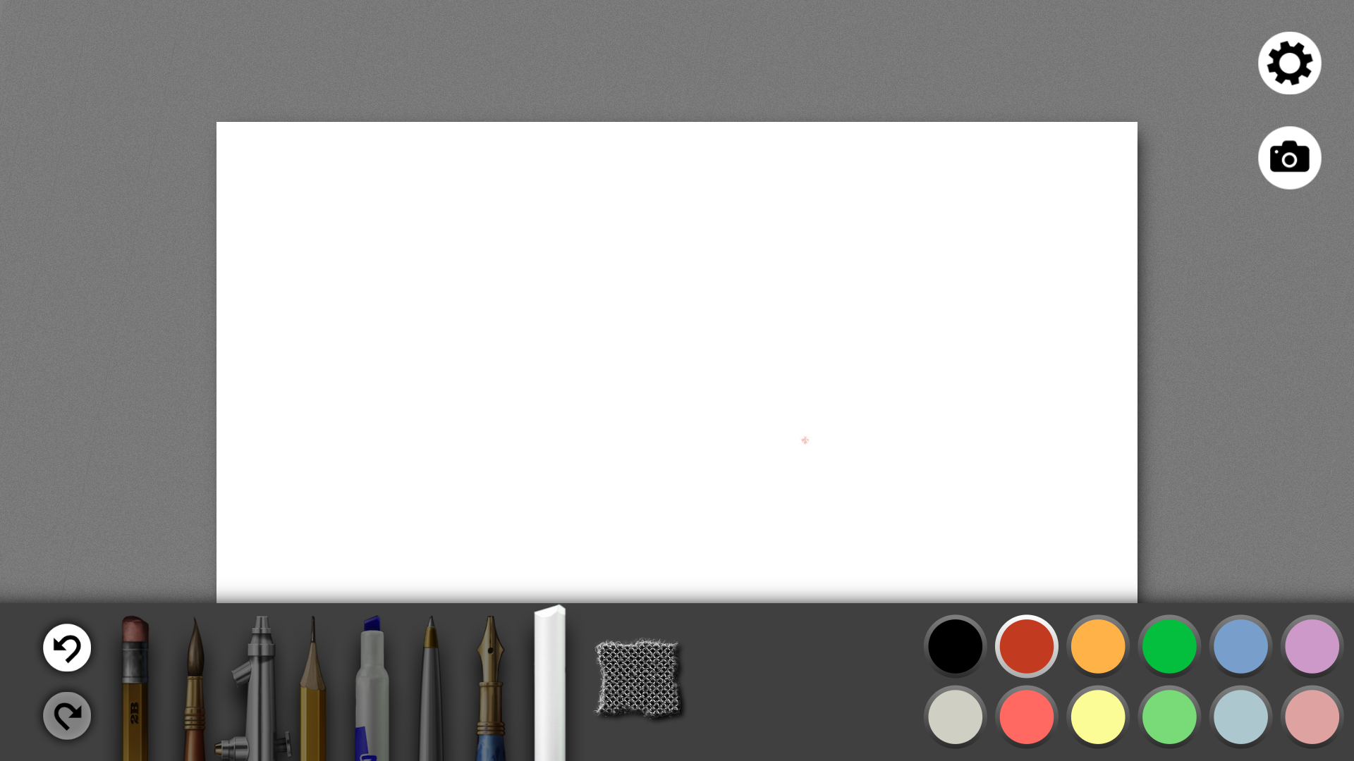 Once inside a sketchbook, the UI is very simple. Settings and camera/picture load options are on the top right and tools, paper texture and color palette is on the bottom. The free version ships with only the eraser and brush. All other tools (including the color picker!) are sold seperately in-app. Total cost is $11.99
