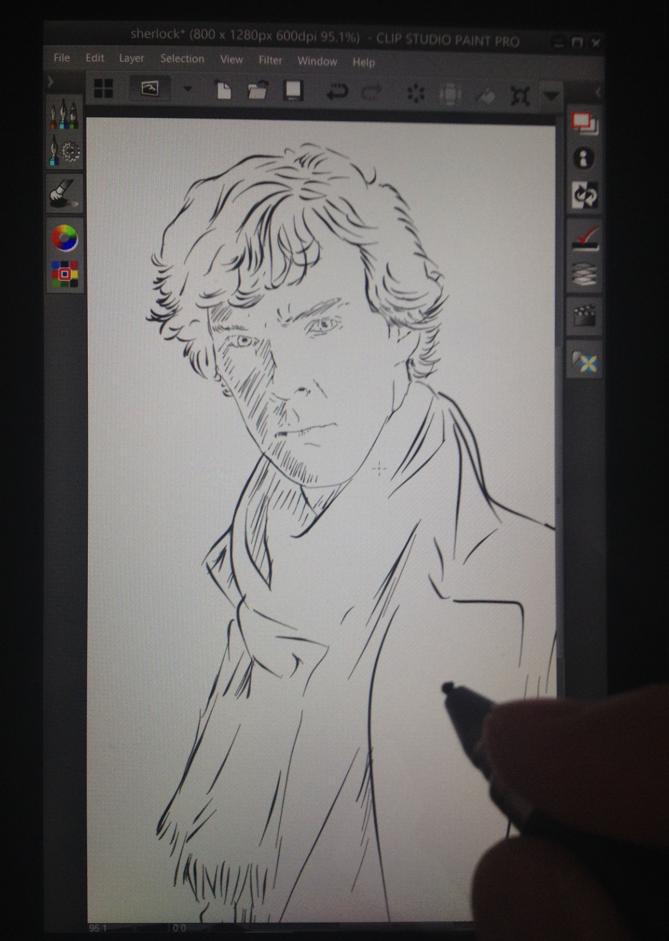 Five minute    @ Sketch_Dailies    #Sherlock. Working at 800x1280, 600 dpi; finding it difficult to get fine control.