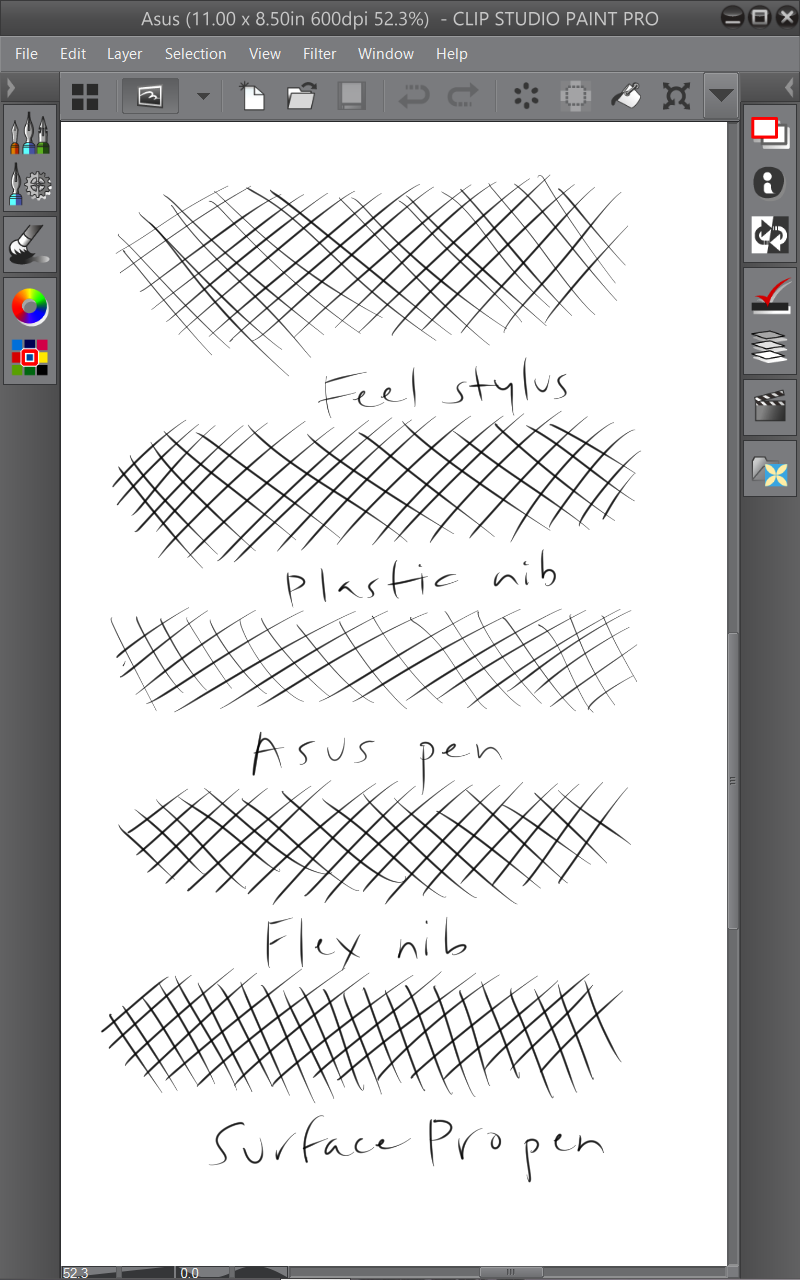 Working at 600 dpi resolution to test the different pens and nibs. Each crosshatch was drawn at pixel size. The picture above is zoomed out to show each pen I tested. The Wacom TabletPC pen with plastic nib and the Surface Pro pen gave the most consistent results. Notice how light the strokes are with the standard stylus (middle). The soft nib of the Feel stylus and the Flex nib on the Fujitsu pen tend to drag on the screen's coating, resulting in all the fish tails at the end of strokes.