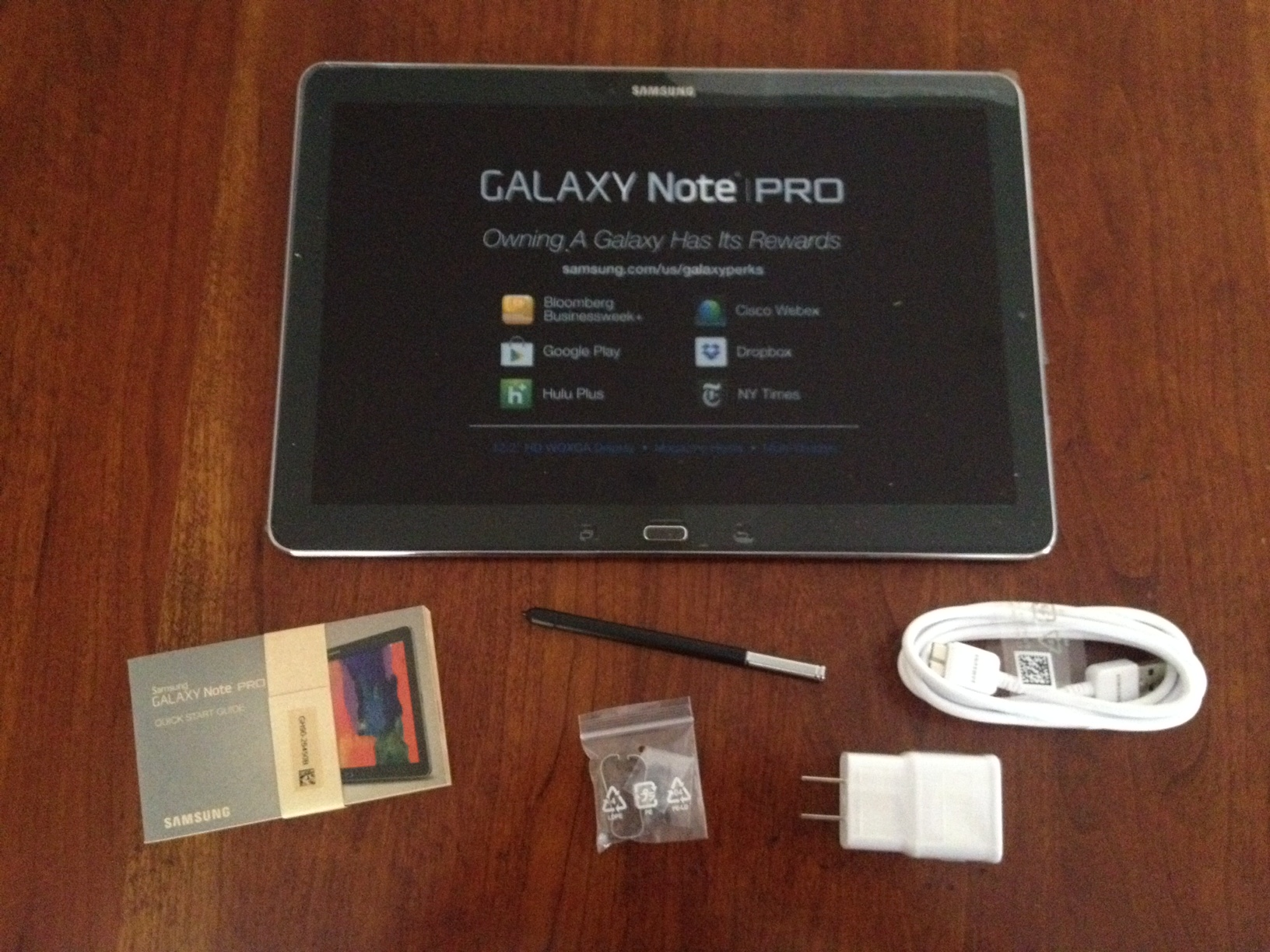 The Samsung Galaxy Note Pro 12.2 and its tiny S-Pen. It includes an extractor and five replacement nibs.