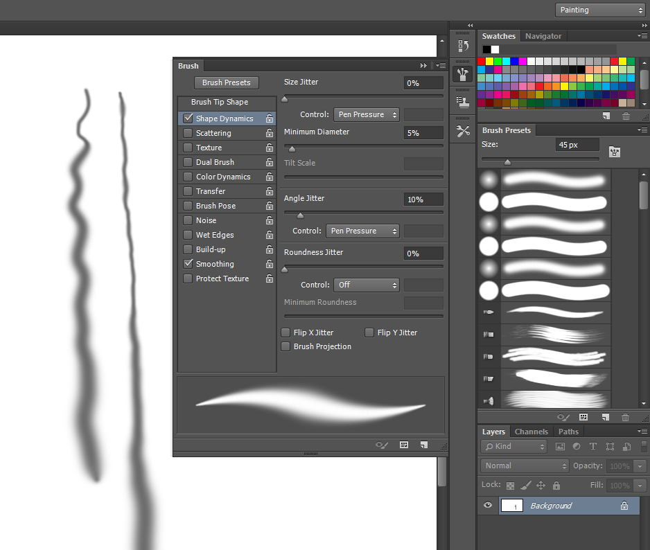 When pen pressure is unavailable, Photoshop displays a warning if you attempt to use it in a brush control.
