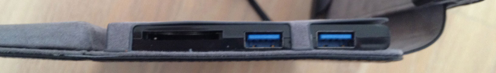 An SD card reader (left) and two USB 3.0 ports sit on the right side of the dock cover.
