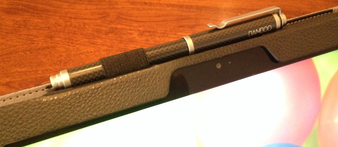 Although it's designed for the standard pen, the loop expands to hold the much thicker Wacom Bamboo Stylus Feel Carbon.