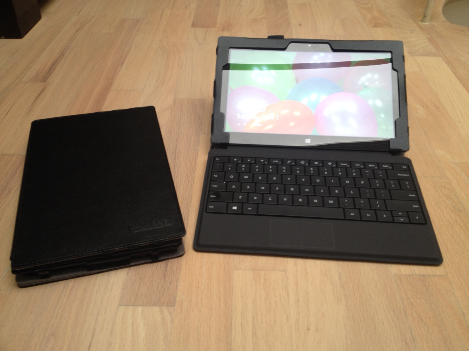 With the keyboard cover attached, the Surface Pro screen can be angled much lower than with the kickstand.