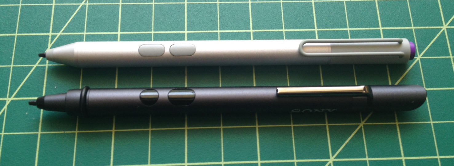 The dimensions of the new Surface Pro 3 pen are very similar to the Sony Active Pen (minus click end). The two pens are interchangeable, but neither offers replacement nibs. In response to this issue, Microsoft is considering marketing replacement nibs of different textures. I'll have more information on this as it becomes available.