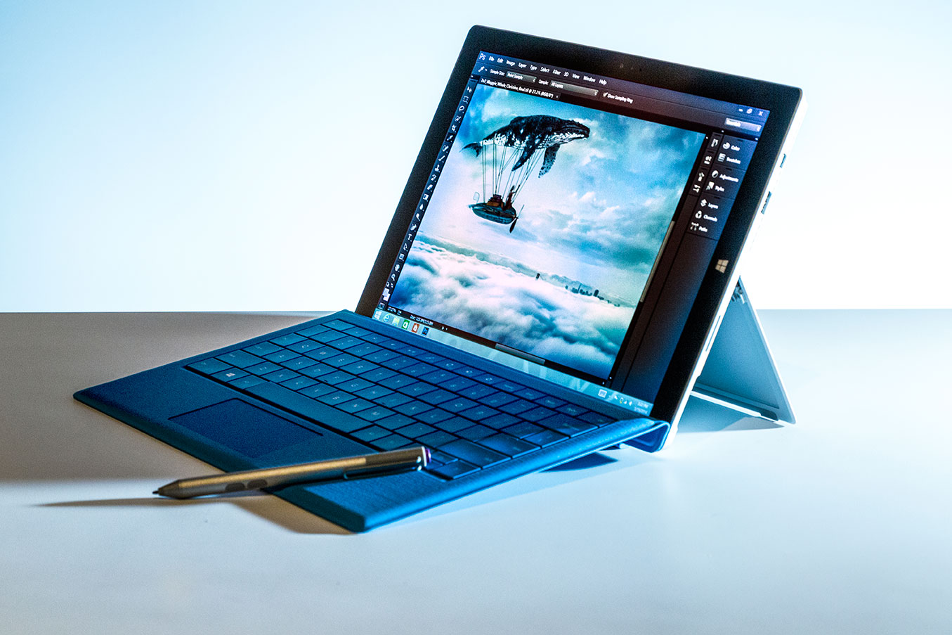 The Surface Pro 3 displaying a preview of the new touch friendly (and Wintab-free) Adobe Photoshop CC, due to be released next month