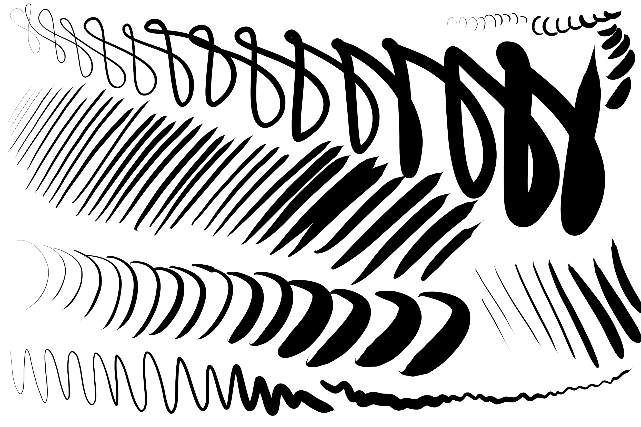 "These tests demonstrate the pressure range I was able to achieve in Clip Studio Paint 1.3.1 with a 200px Frenden brush on a 10""x10"" image at 300 dpi. I adjusted the slope of the pen pressure curve to have a much slower acceleration. The default linear curve requires too much initial force, which makes it nearly impossible for me to register light marks."