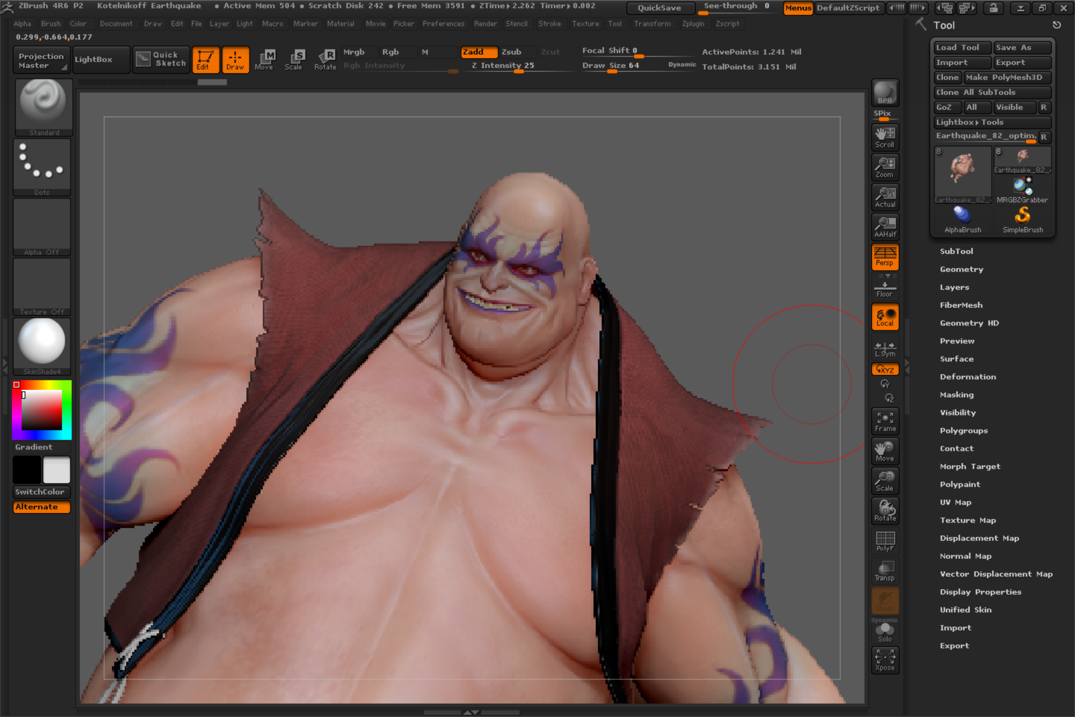 Like many Wintab programs, ZBrush 4R6 runs and is very responsive; however, pen pressure is absent.