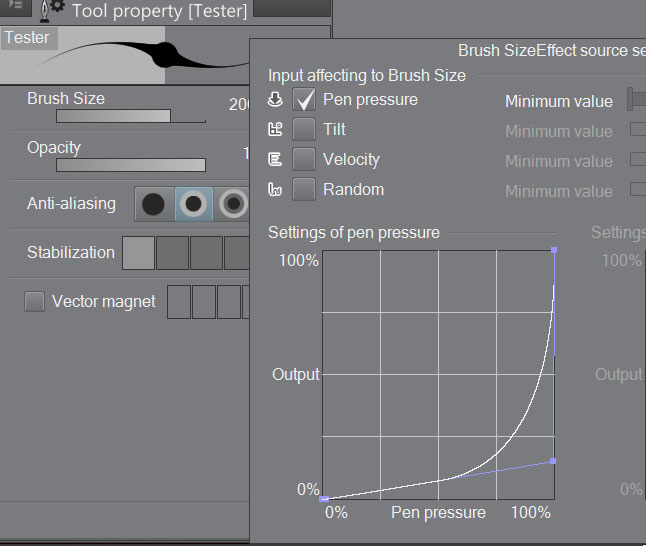 The pen pressure settings in Clip Studio Paint.