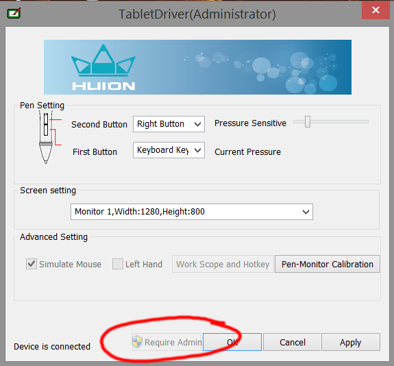 In order to access the pen-monitor calibration tool, you'll first have to grant the control panel Administrative access.
