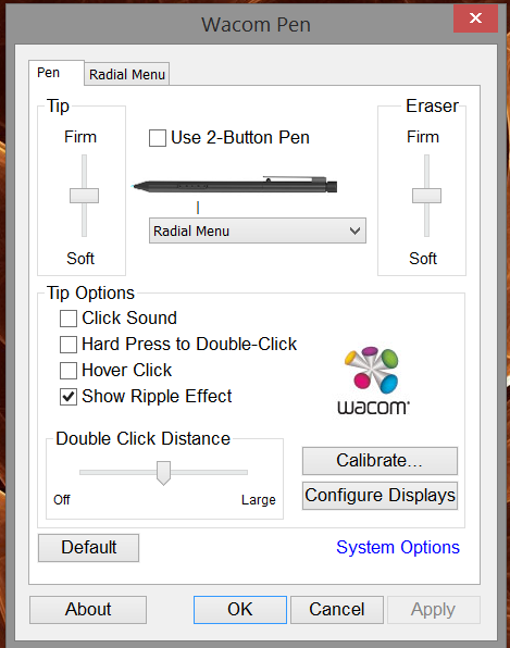 As with previous versions, the Feel driver identifies itself as Wacom Pen and is launched from the Windows Control Panel.