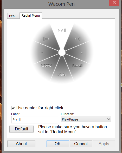 "To customize the radial menu, click the Radial Menu tab. Notice the new ""Use center for right-click""checkbox. This is very useful for one-button pens. The setting requires a little coordination to use, but is easy enough once you get the hang of it. Keep the pen's side switch held and when the radial menu comes up, click on the center and then release the side switch."