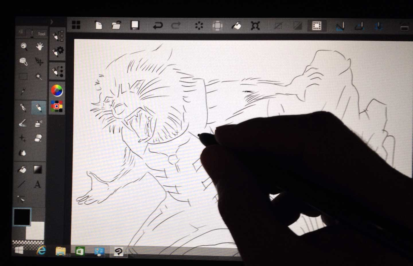 Sketching in Clip Studio Paint. Not pushing the hardware too hard, the drawing experience feels comparable to any other Wacom tablet pc.