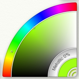 The color picker consists of three arcs. The outer arc sets the hue, the large middle arc sets brightness and saturation and the metallic arc adds specular and reflective effects.