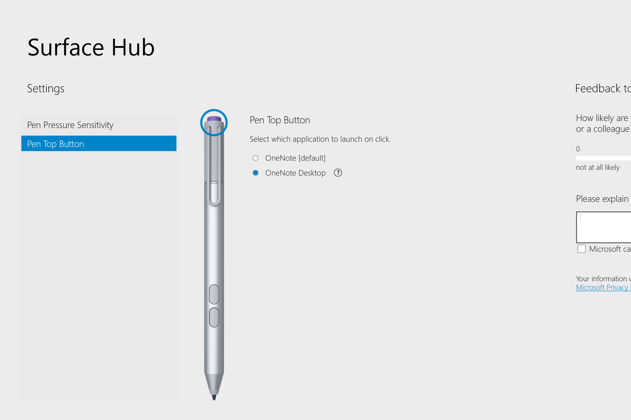 Besides editing pen pressure, the app allows you to determine which version of OneNote (desktop or Modern) opens when the pen top button is pressed.