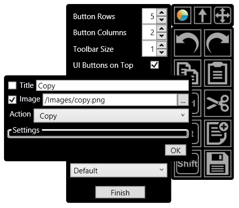 Editing the functions of the toolbar works the same way as the radial menu. Just right click and select your desired function.