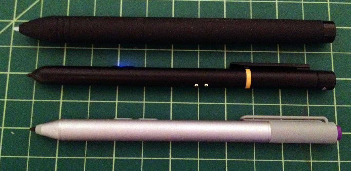The Monoprice pen (center) is about the same length as the Surface Pro 3 pen, but much narrower than the pen shipped with the Huion GT-220.