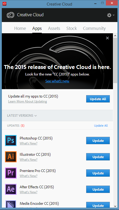 When the Adobe Creative Cloud application notifies you that new CC 2015 apps are available, you can update the programs individually or select Update All.