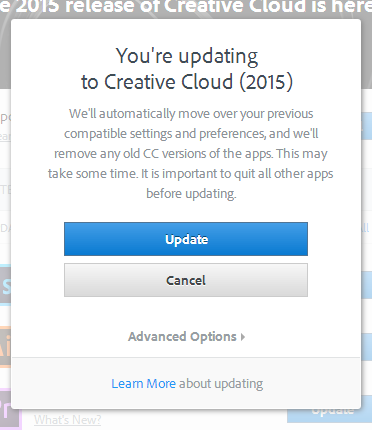 By default, the installer will remove prior CC versions (CS 6 and earlier are not affected). To keep your older installations, select Advanced Options.