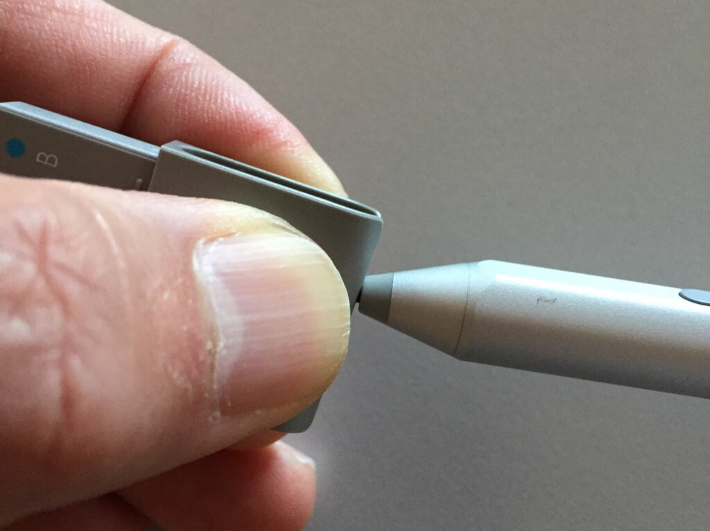 The bottom of the replacement nib holder doubles as a nib extractor. Apply heavy pressure with finger and thumb or the nibs will slip!