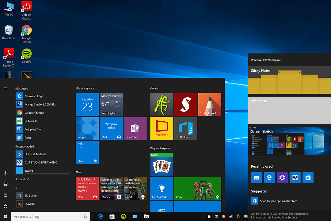 The Build 14328 desktop features significant changes to the Start Menu (left) and introduces the Windows Ink Workspace (right)