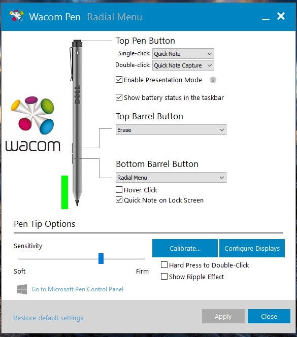 When the Dell Active Pen is detected, the Wacom Feel driver allows you to configure the top pen button, a feature we've only seen on the Surface Pen control panel to date.