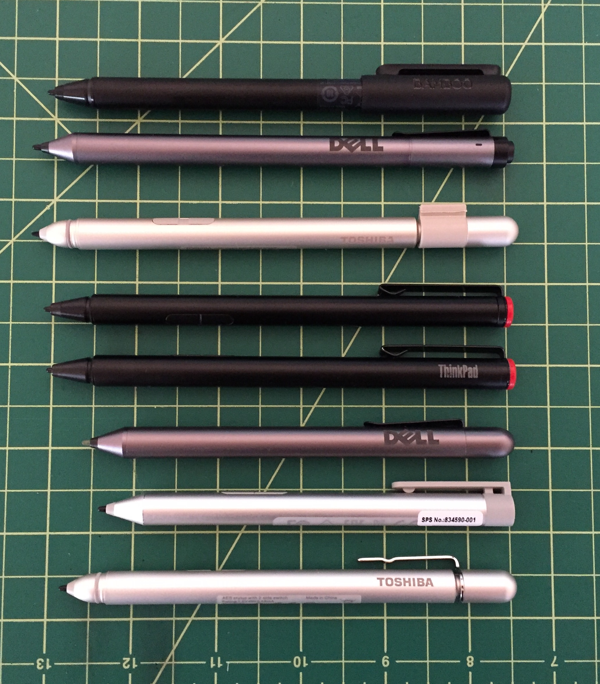 The Wacom Active ES pen roundup from top: Gen 12 pens Bamboo Smart, Dell Active Pen, Toshiba dynaPad TruPen and Lenovo Thinkpad Pro Pen;Gen 11 pens Lenovo Active Capacitive Stylus, Dell Active Stylus, HP Active Pen and Toshiba Encore 2 Write TruPen. (Generation denomination is my best guess).