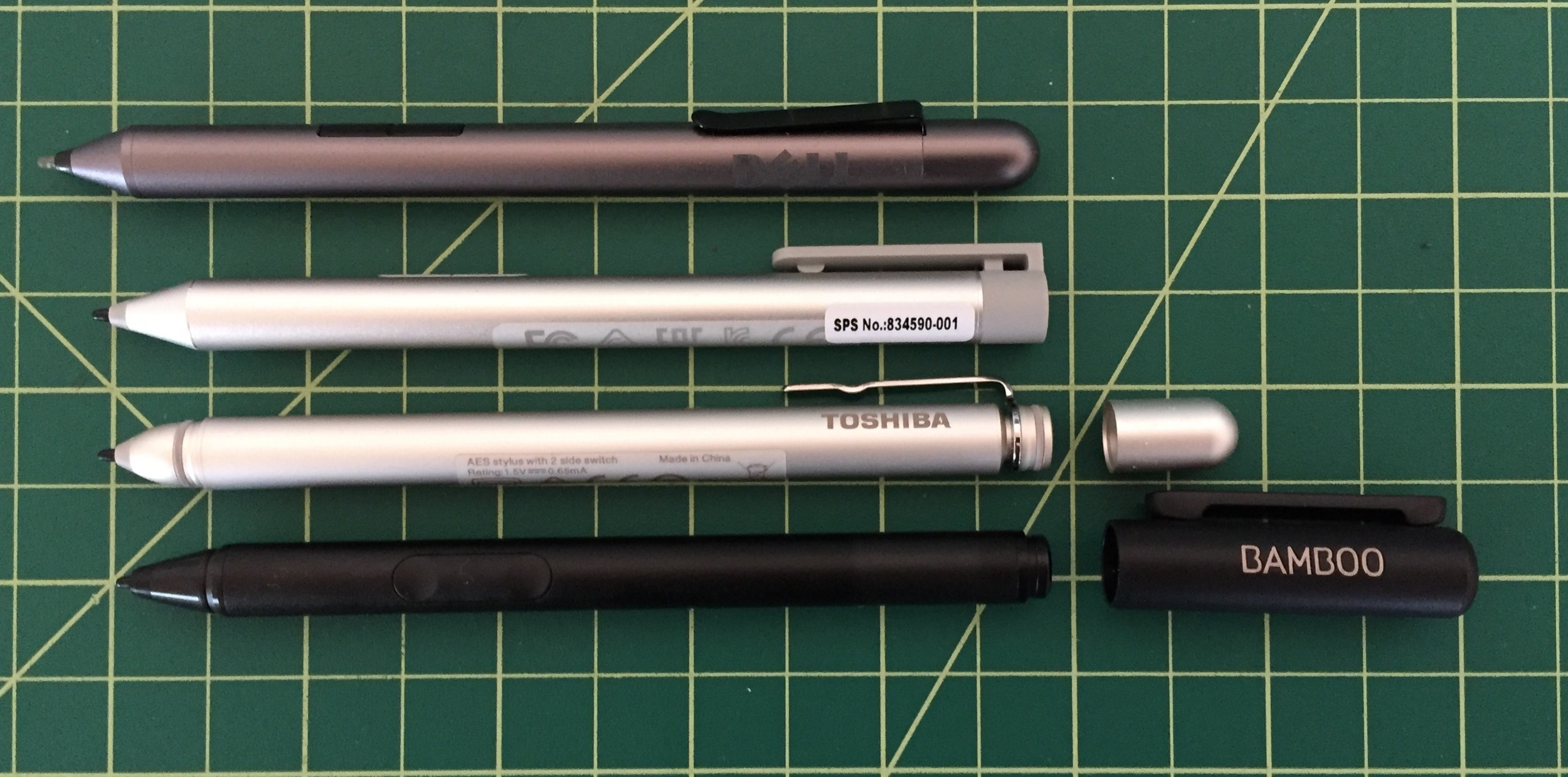 The Bamboo Smart (bottom) is surprisingly small and too light without its cap.