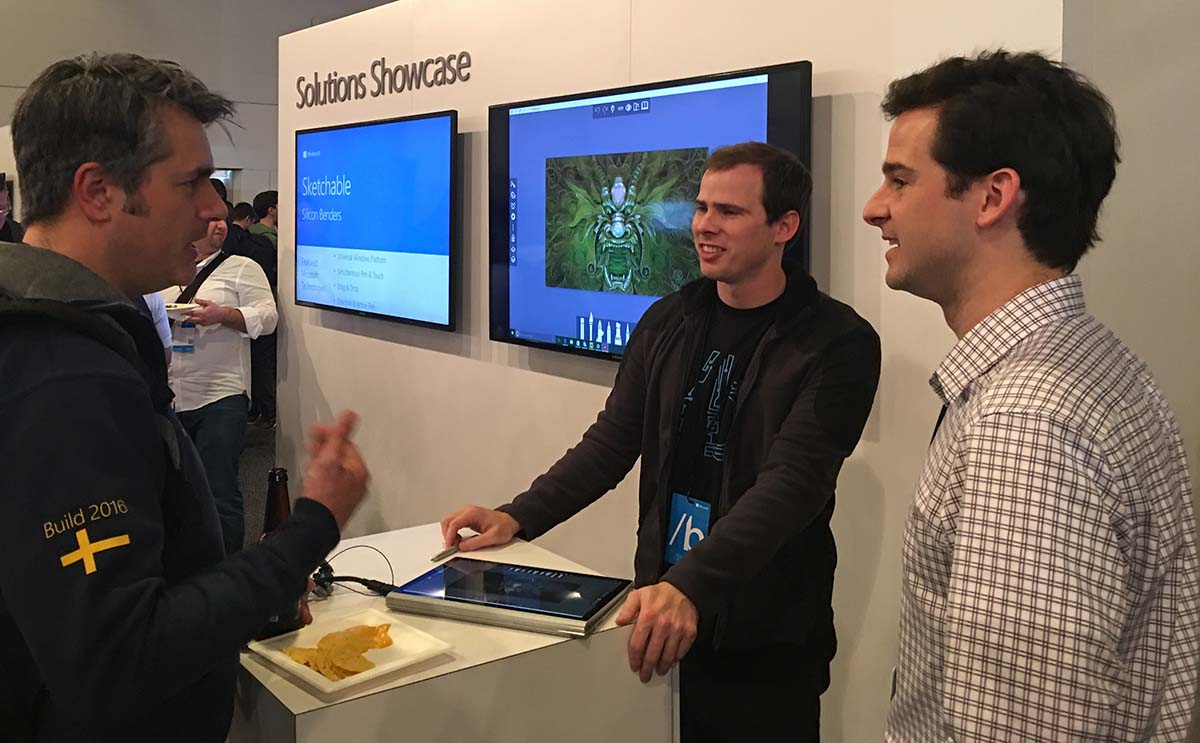 Ryan and Miles Harris (center and right) demonstrated Sketchable at Build 2016