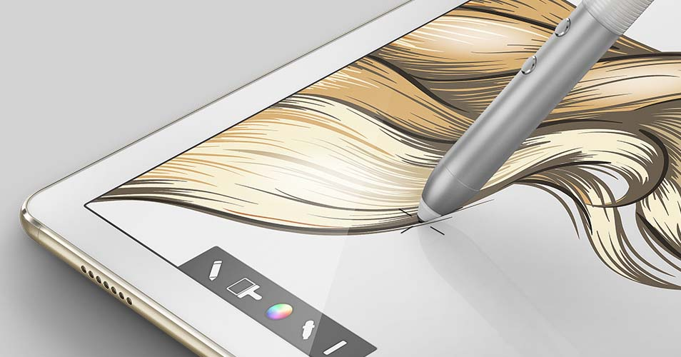 The Huawei MatePen features an unusually blunt nib with a wide collar.