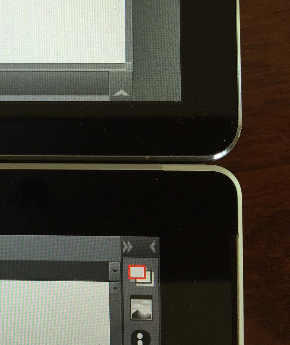 The bezels are significantly narrower on the Matebook (top) than the Surface Pro 4.