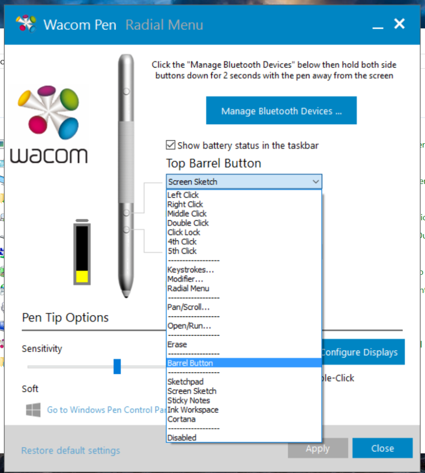 New Anniversary Update features like the Ink Workspace can now be assigned to pen buttons.
