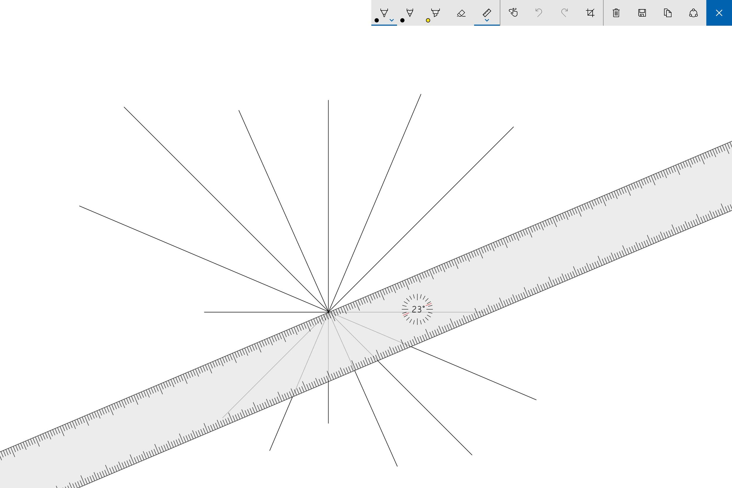 The Dial makes it easy to rotate the Sketchpad ruler to exact increments.