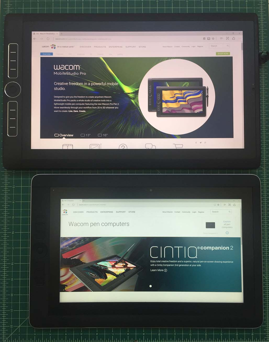 The MobileStudio Pro 16 (above top) is not dramatically larger than the Cintiq Companion 2, but it weighs 1.1 lbs. more.