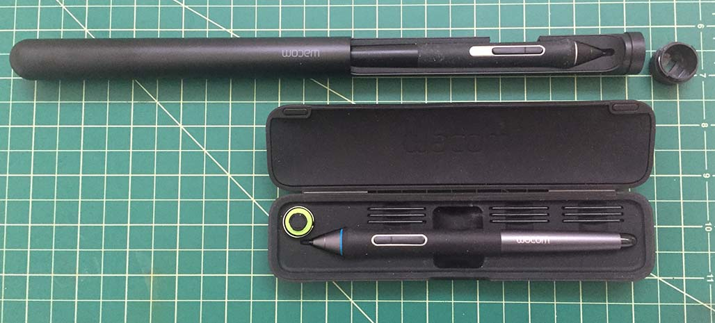 The standard carrying case of the Cintiq Companion's Pro Pen has been replaced by a telescoping cigar shaped case for the Pro Pen 2 (above top). Instead of nine replacement nibs, the new pen only brings three.