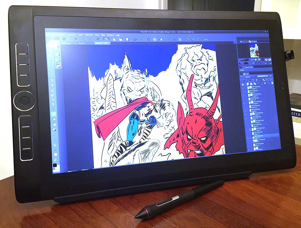 The powdery finish of the MobileStudio Pro display requires some adjustment for users of other devices. I personally had issues controlling my ink strokes, but coloring felt very natural.