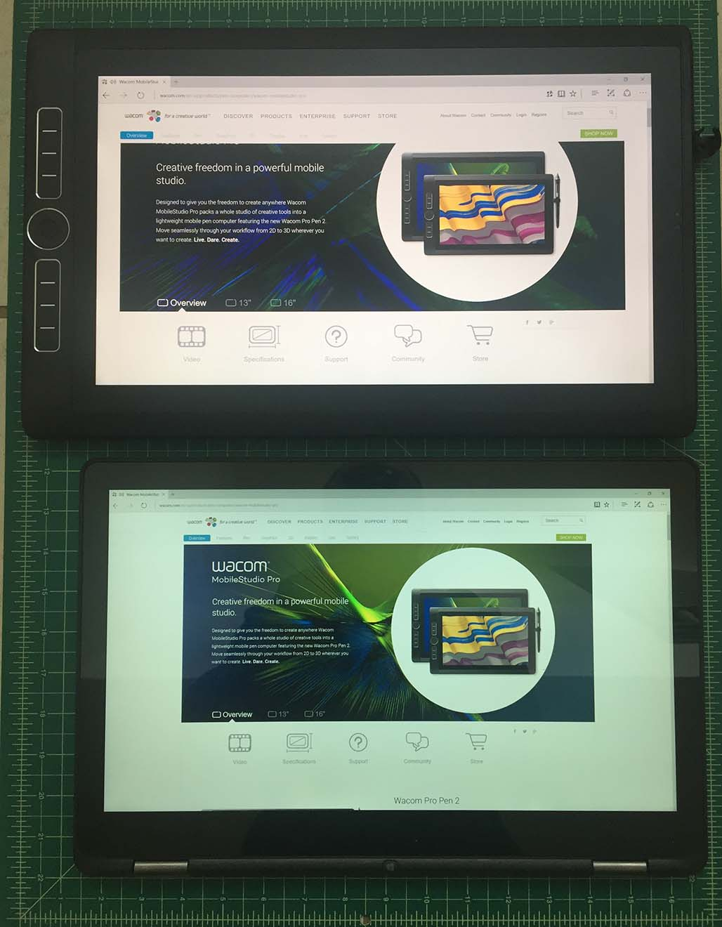 The Dell Inspiron 7568 (above bottom) also has a 15.6 inch screen, but the MobileStudio Pro's ExpressKeys make it a little more awkward to manipulate on a lap.