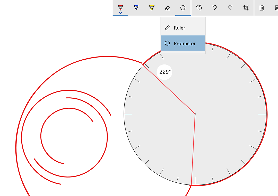 The protractor tool is a circular ruler. It's so lifelike, I forgot that I didn't need to hold it down with my free hand as I drew!
