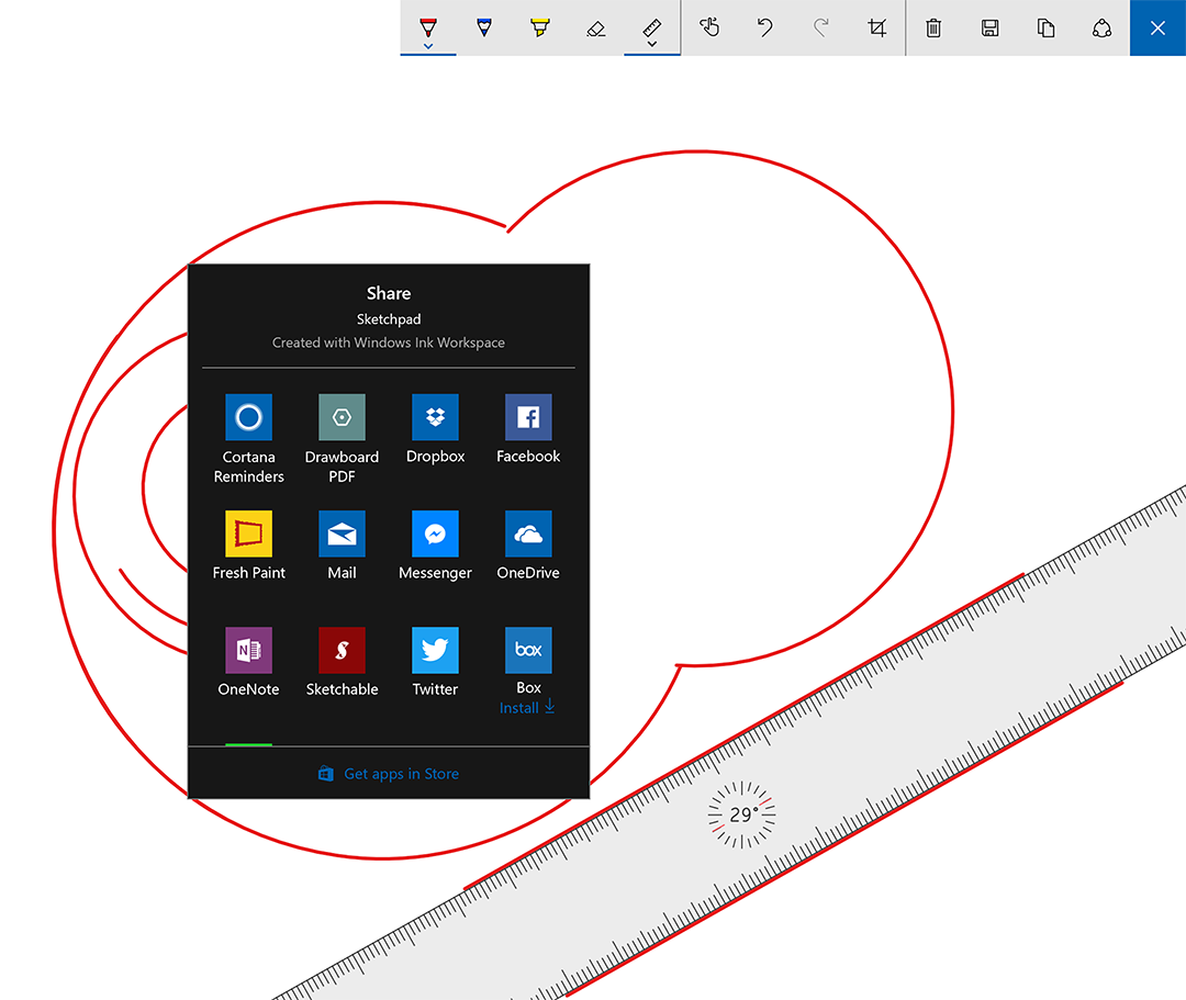 There's a new share window with icons from supported Windows Store apps and the straight edge ruler now displays angle of rotation.
