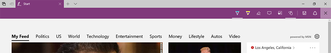 All the web note tools have been moved over to the right side of the Edge Web Note toolbar.