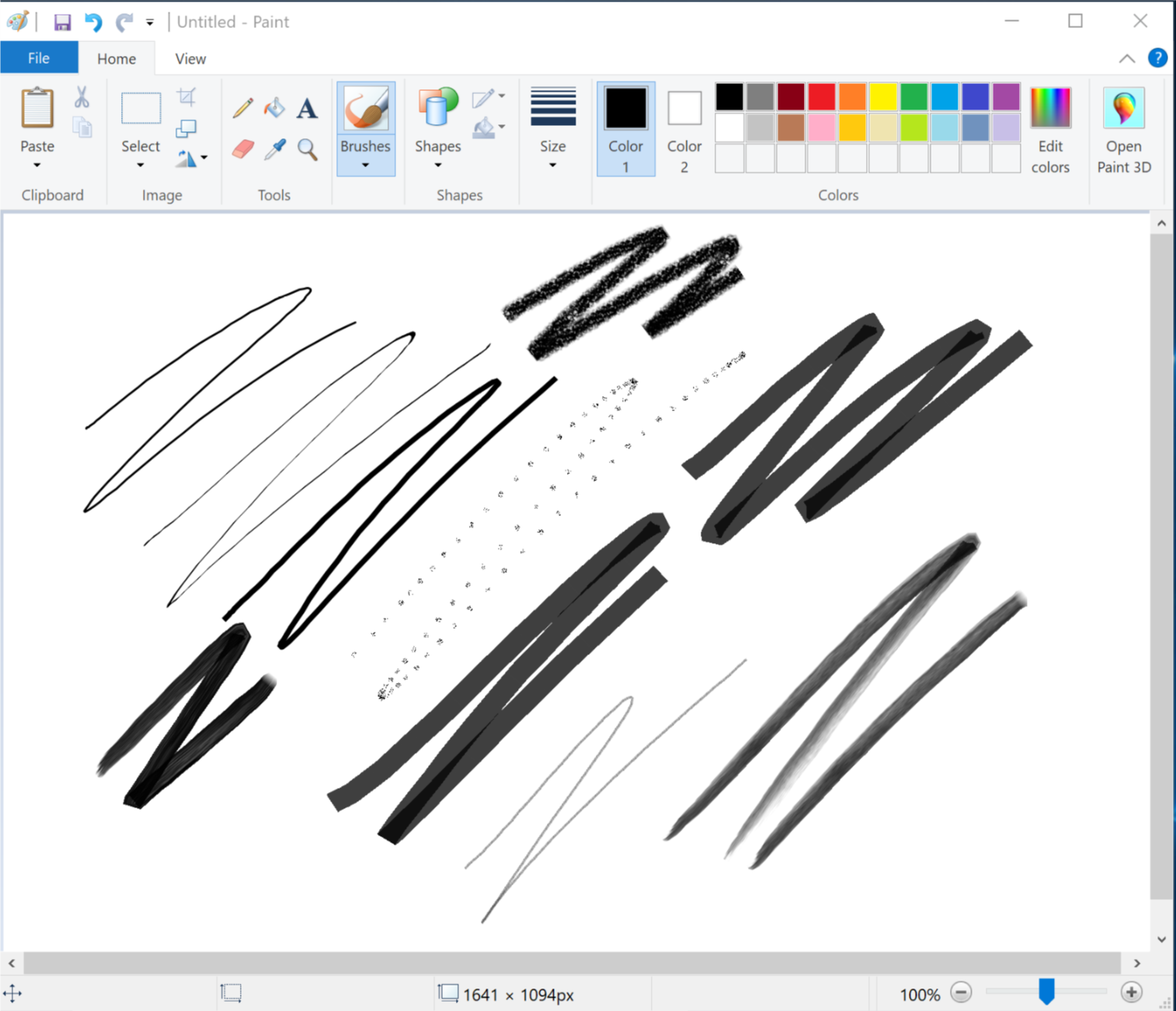 Most of Microsoft Paint's functionality is available the Windows Ink Workspace apps, but those are missing brush types, fonts and shapes.
