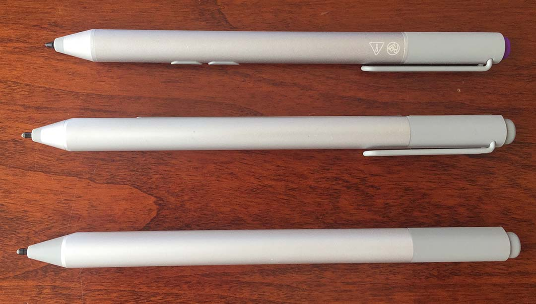The original Surface Pro 3 active pen (top), the Surface Pro 4 pen (center) and the new Surface Pen.