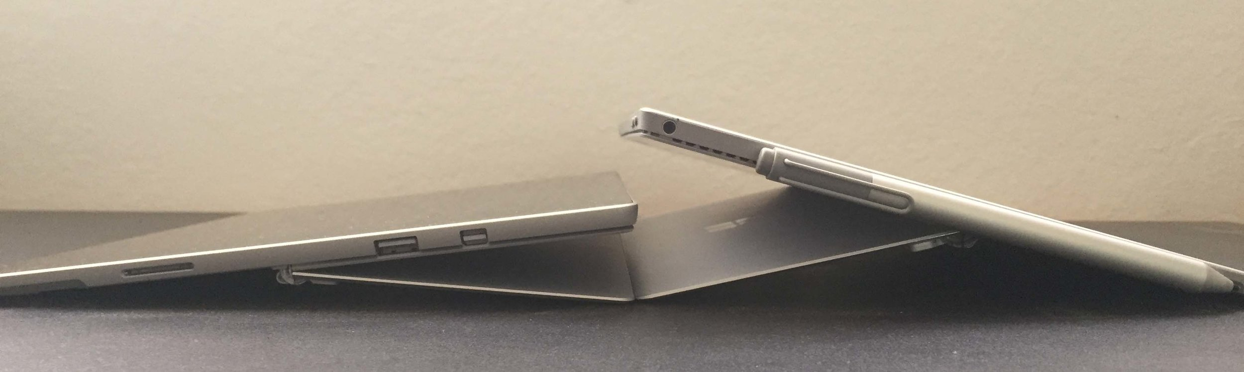 The new Surface Pro kickstand (left) offers 165 degree of recline, but I prefer the SP4's maximum inclination.