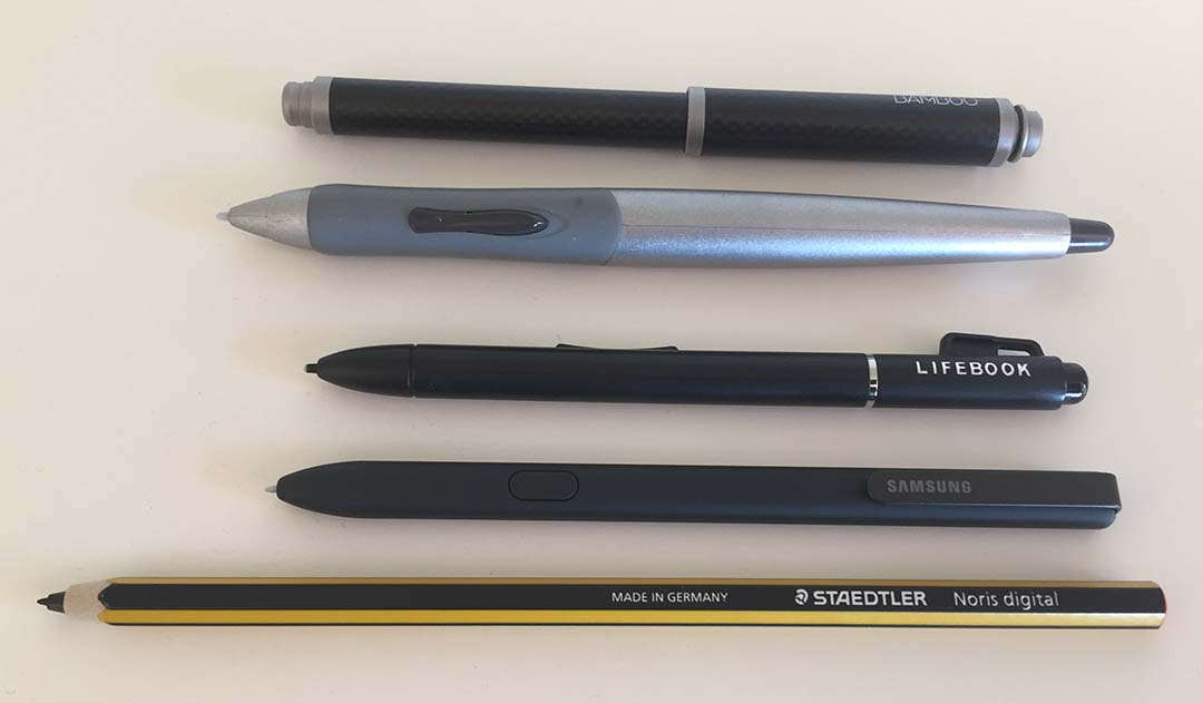 Older Wacom EMR tablet PC pens tested with the Galaxy Book, from top: Wacom Bamboo Stylus feel, the Axiotron Studio Pen, the Fujitsu T-5000.