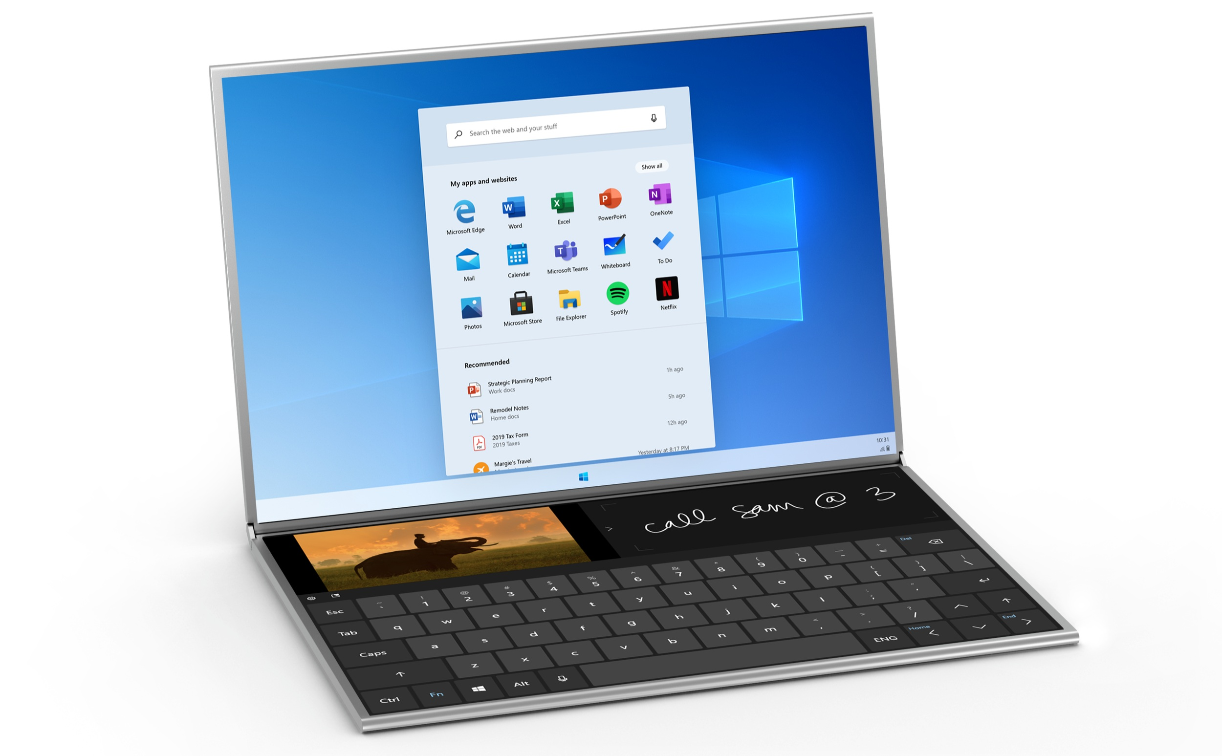 The physical keyboard leaves an impractical strip of the second screen visible.