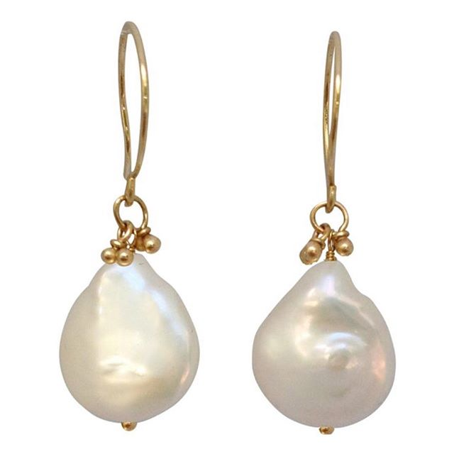 The most beautiful pearls, like mouth-watering meringue to make life a little sweeter.  Wear with a tank top and jeans or your go-to LBD for date night. #magallyjewelry #earrings #handmadejewelry #pearls #gold #jewelry #jewelrygram #jewelrydesigner #bridal #wedding #bridesmaids #bride #weddingday #whatiwore