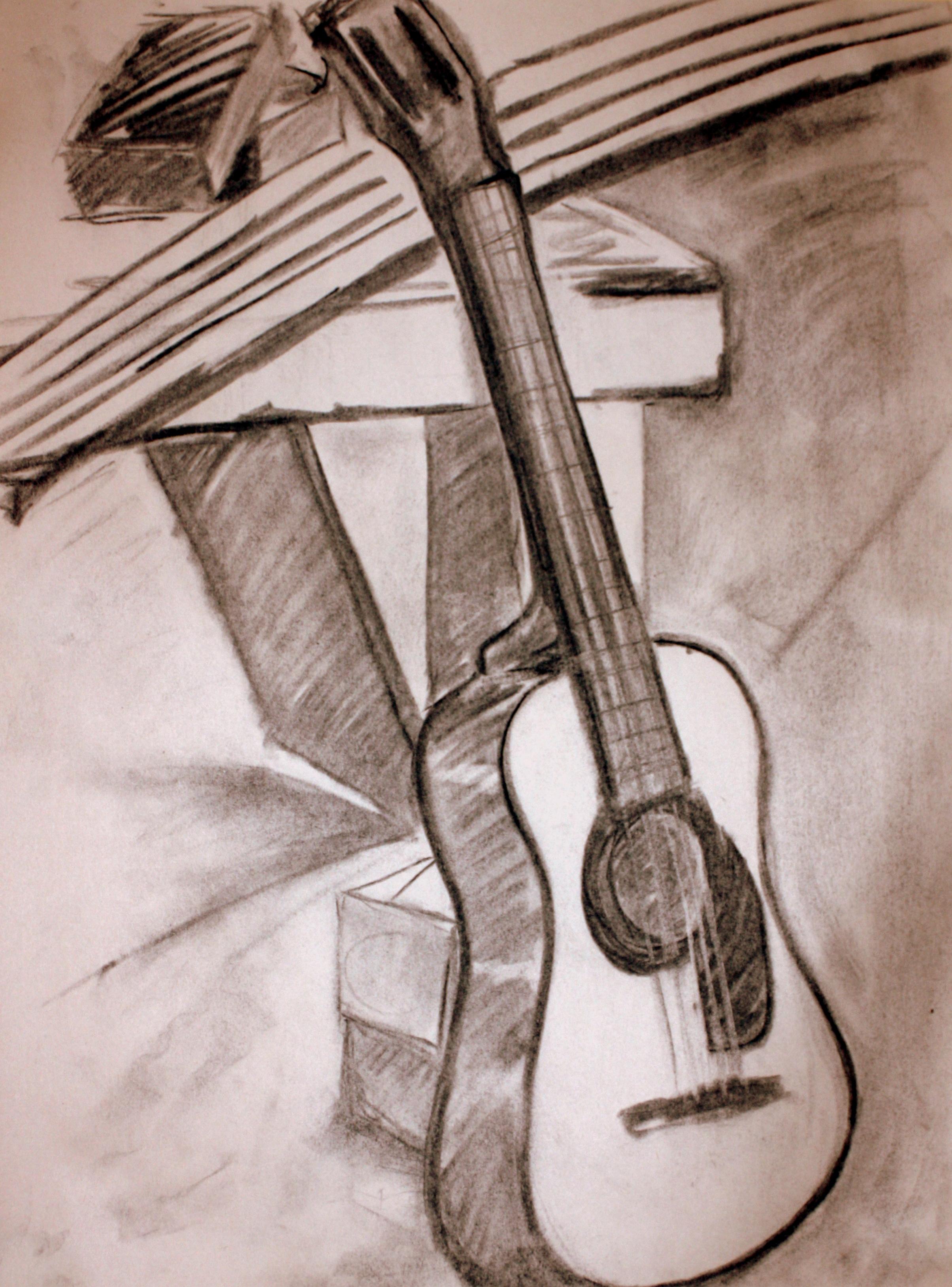 "Guitar (2010)  Charcoal on Newsprint  (24""X18"")"
