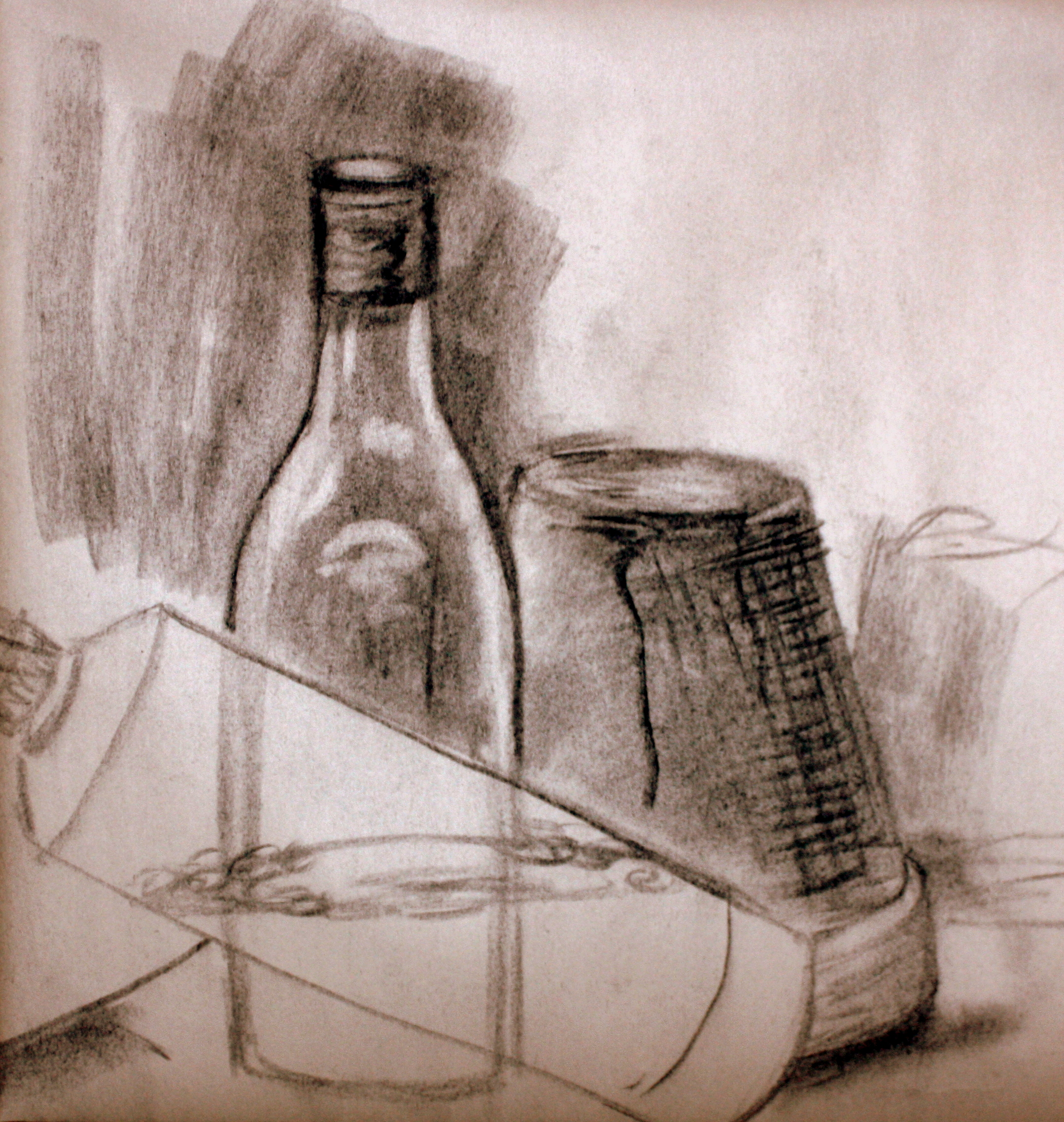 """Two Bottles & Clay Pot (2010)  Charcoal on Newsprint  (16""""X15"""")"""